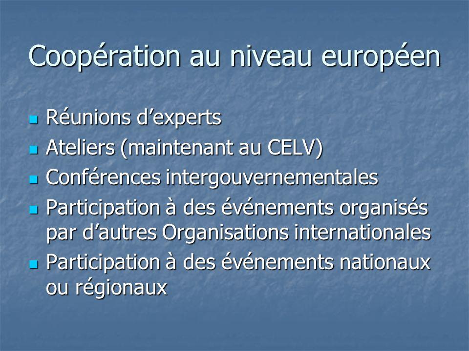 Coopération au niveau européen Réunions dexperts Réunions dexperts Ateliers (maintenant au CELV) Ateliers (maintenant au CELV) Conférences intergouver
