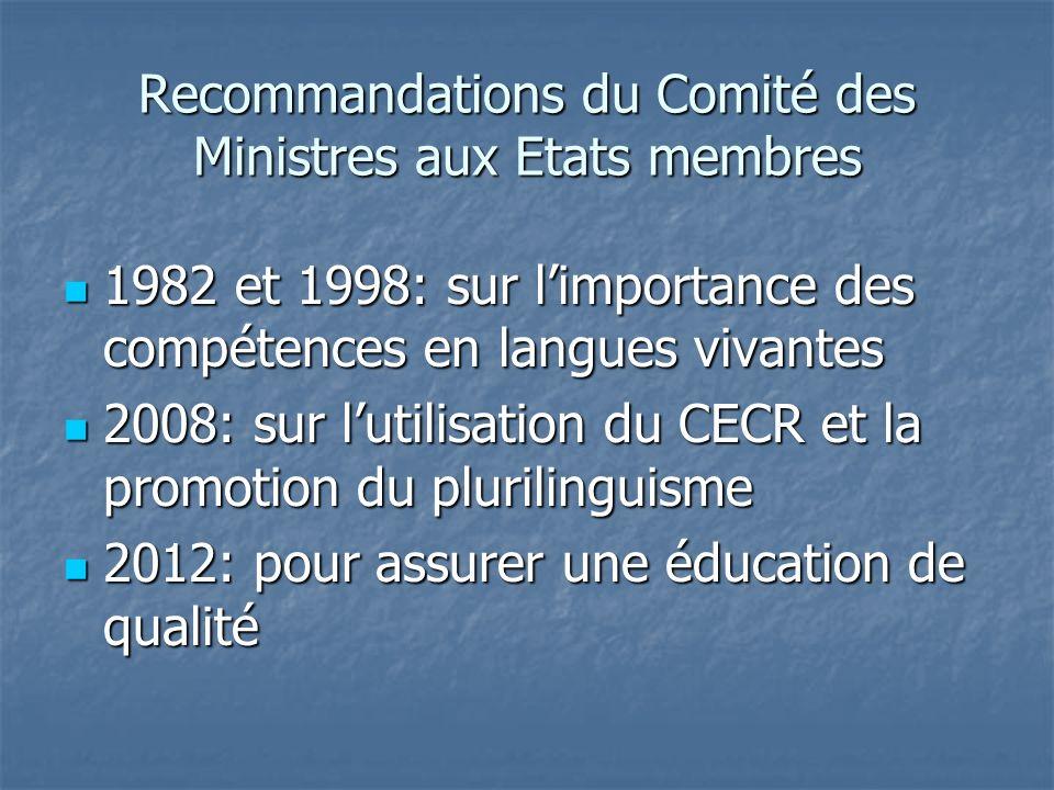 Recommandations du Comité des Ministres aux Etats membres 1982 et 1998: sur limportance des compétences en langues vivantes 1982 et 1998: sur limporta