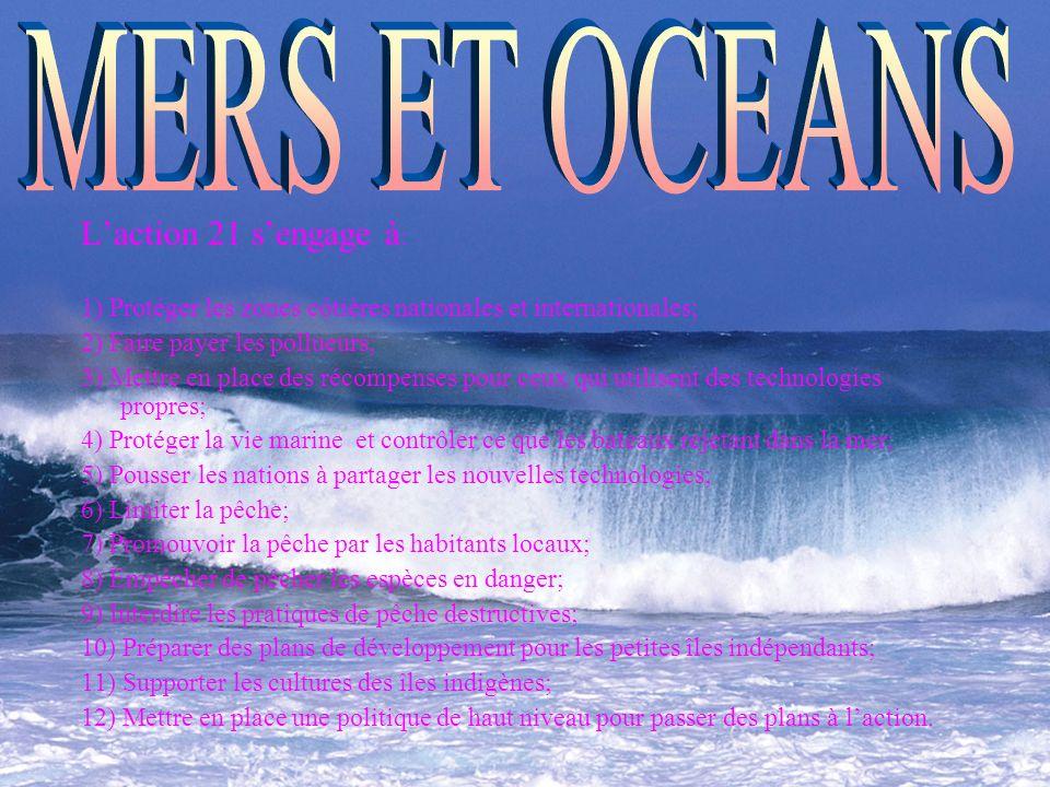 Laction 21 sengage à : 1) Protéger les zones côtières nationales et internationales; 2) Faire payer les pollueurs; 3) Mettre en place des récompenses pour ceux qui utilisent des technologies propres; 4) Protéger la vie marine et contrôler ce que les bateaux rejetant dans la mer; 5) Pousser les nations à partager les nouvelles technologies; 6) Limiter la pêche; 7) Promouvoir la pêche par les habitants locaux; 8) Empêcher de pêcher les espèces en danger; 9) Interdire les pratiques de pêche destructives; 10) Préparer des plans de développement pour les petites îles indépendants; 11) Supporter les cultures des îles indigènes; 12) Mettre en place une politique de haut niveau pour passer des plans à laction.