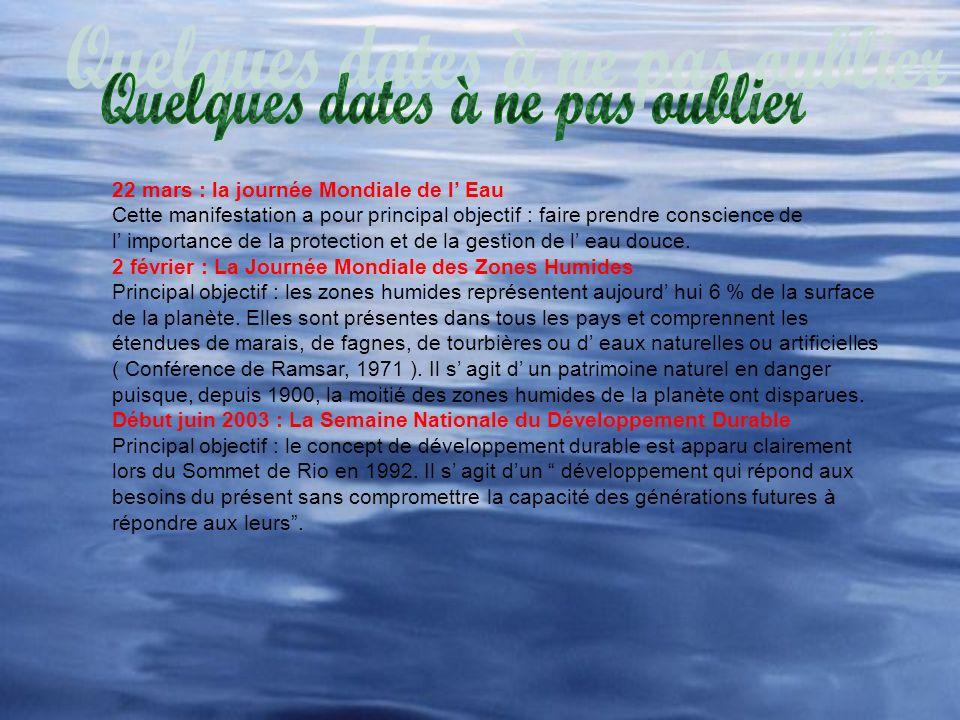 22 mars : la journée Mondiale de l Eau Cette manifestation a pour principal objectif : faire prendre conscience de l importance de la protection et de la gestion de l eau douce.