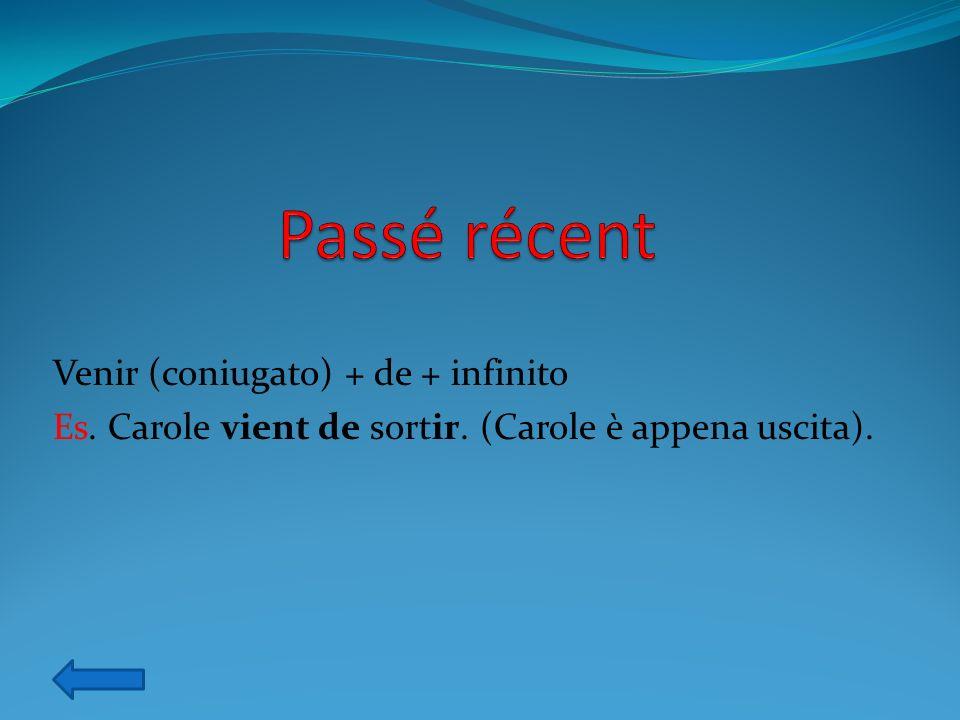 Être (coniugato) + en train de + infinito Es. Je suis en train détudier. (Sto studiando)