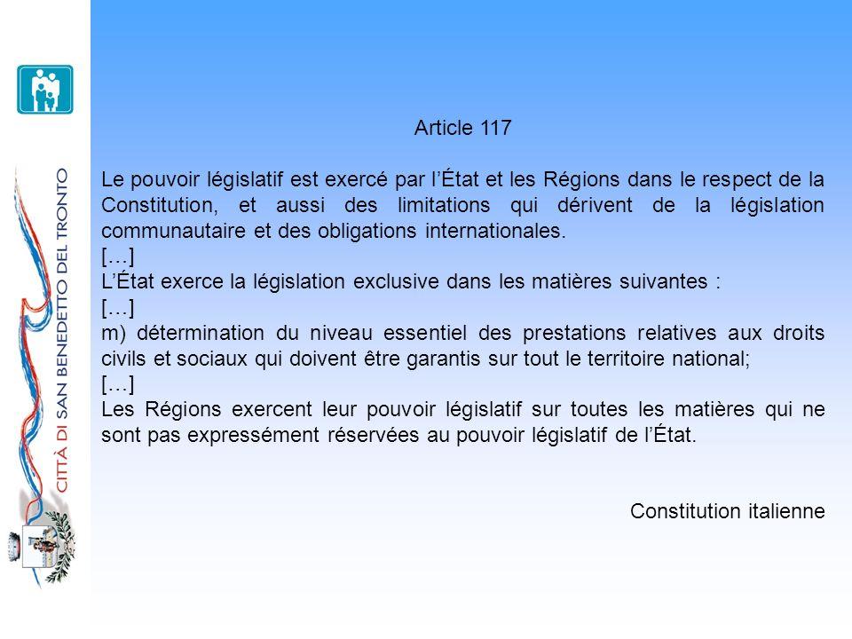 Article 118 Les fonctions administratives sont attribuées aux Municipalités à moins que, pour en garantir luniformité dexercice, elles soient attribuées aux Provinces, aux Villes métropolitaines, aux Régions et à lÉtat sur la base des principes de subsidiarité, différenciation et adéquation.
