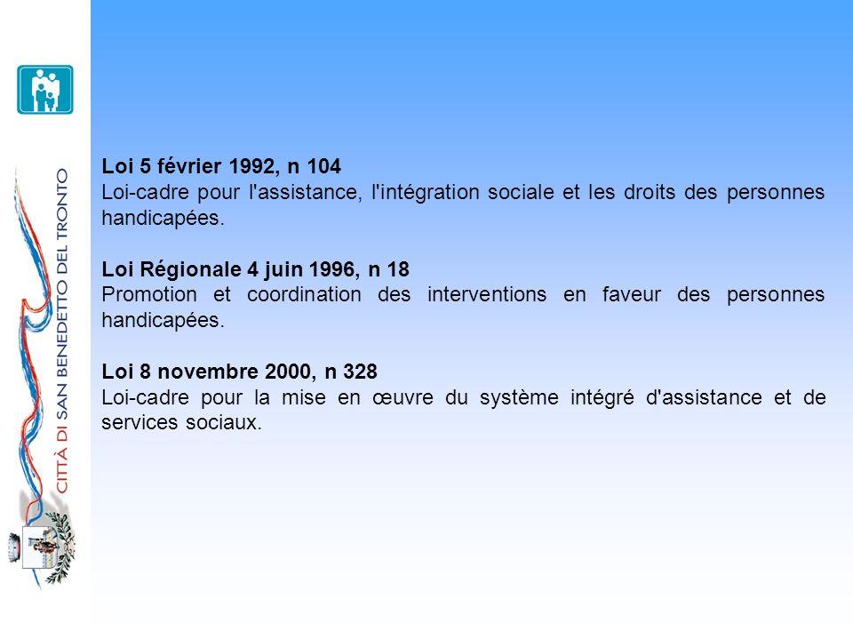 Loi 5 février 1992, n 104 Loi-cadre pour l'assistance, l'intégration sociale et les droits des personnes handicapées. Loi Régionale 4 juin 1996, n 18