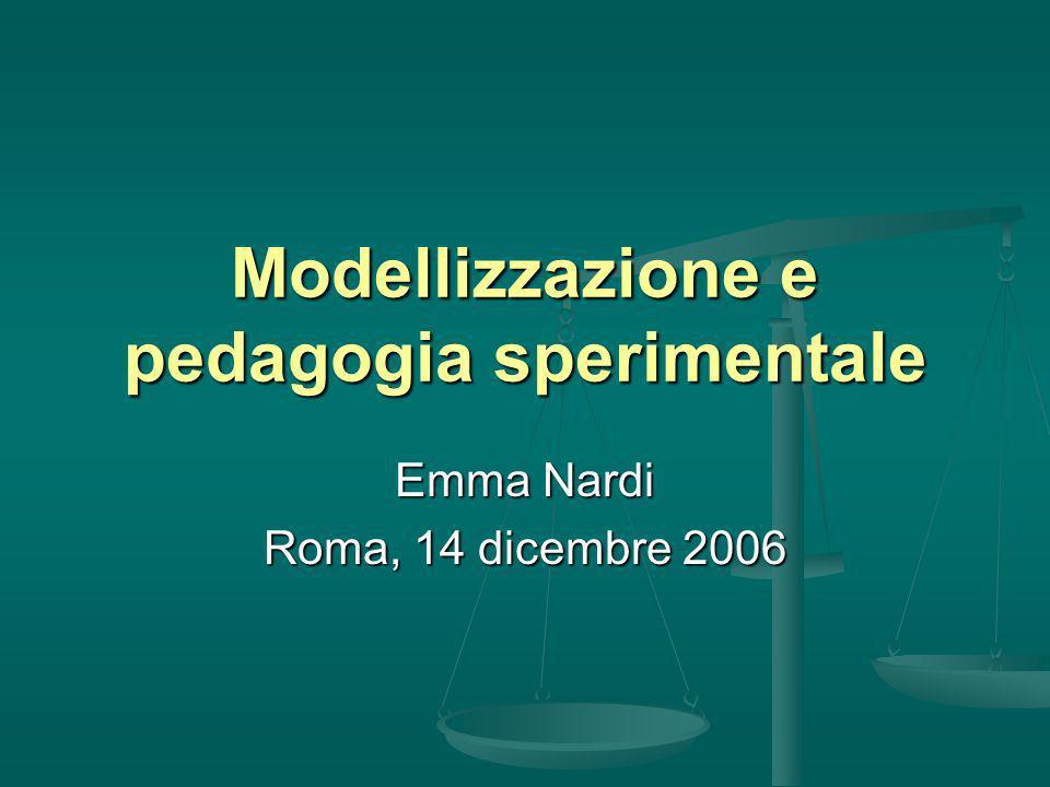 Modellizzazione e pedagogia sperimentale Emma Nardi Roma, 14 dicembre 2006