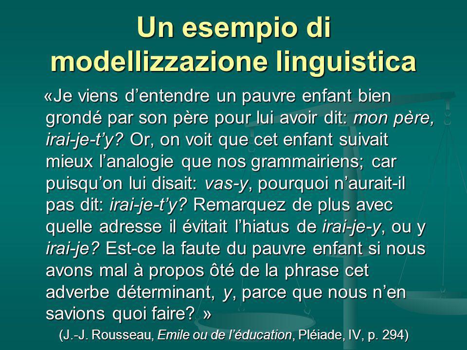 Un esempio di modellizzazione linguistica «Je viens dentendre un pauvre enfant bien grondé par son père pour lui avoir dit: mon père, irai-je-ty.