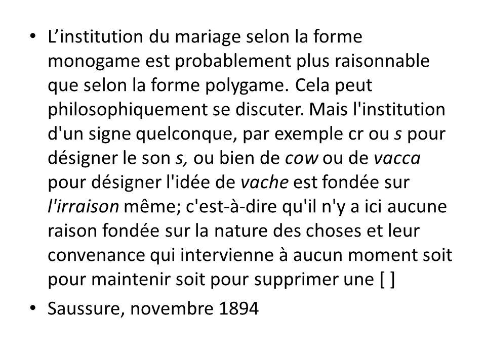 Linstitution du mariage selon la forme monogame est probablement plus raisonnable que selon la forme polygame. Cela peut philosophiquement se discuter