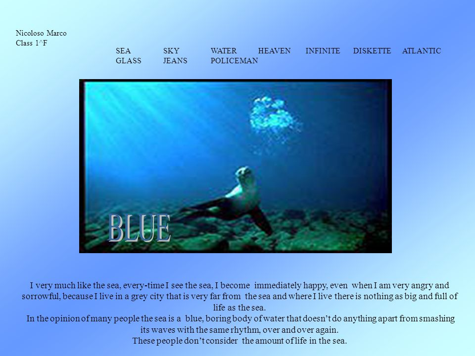 bleu Laura Banfi classe 1 H bleu La mer, le ciel, les jeans, la salopette, le lac, leau, les yeux, le froid.