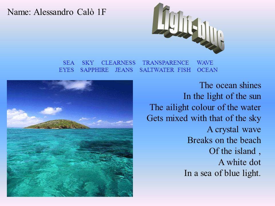 Ilaria classe 1H BLEU La pluie, la mer, la solitude, la nuit, le ciel, la musique, la liberté, les voyages, la fin de lécole, les étoiles.