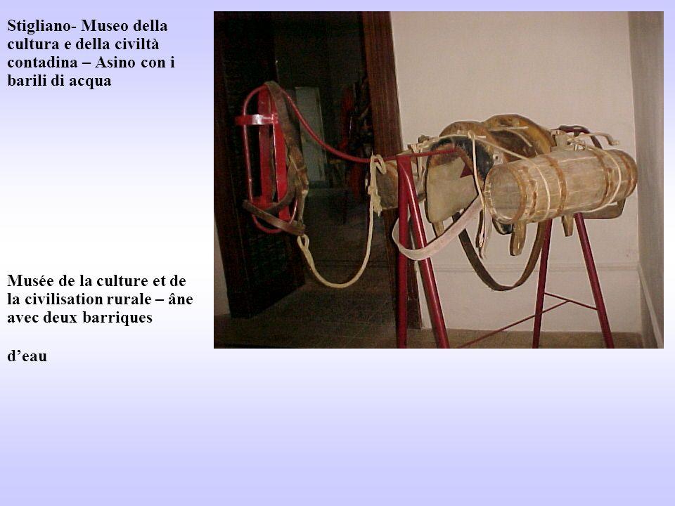 Stigliano- Museo della cultura e della civiltà contadina – Asino con i barili di acqua Musée de la culture et de la civilisation rurale – âne avec deu