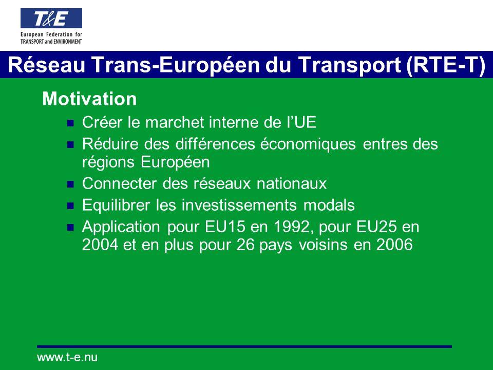 www.t-e.nu Réseau Trans-Européen du Transport (RTE-T) Motivation Créer le marchet interne de lUE Réduire des différences économiques entres des régions Européen Connecter des réseaux nationaux Equilibrer les investissements modals Application pour EU15 en 1992, pour EU25 en 2004 et en plus pour 26 pays voisins en 2006