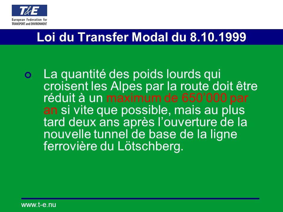 www.t-e.nu La quantité des poids lourds qui croisent les Alpes par la route doit être réduit à un maximum de 650000 par an si vite que possible, mais au plus tard deux ans après louverture de la nouvelle tunnel de base de la ligne ferrovière du Lötschberg.