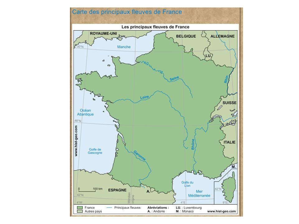 Cette carte repr é sente les 5 principaux fleuves de France : la Seine, la Loire, la Garonne, le Rhône et le Rhin.
