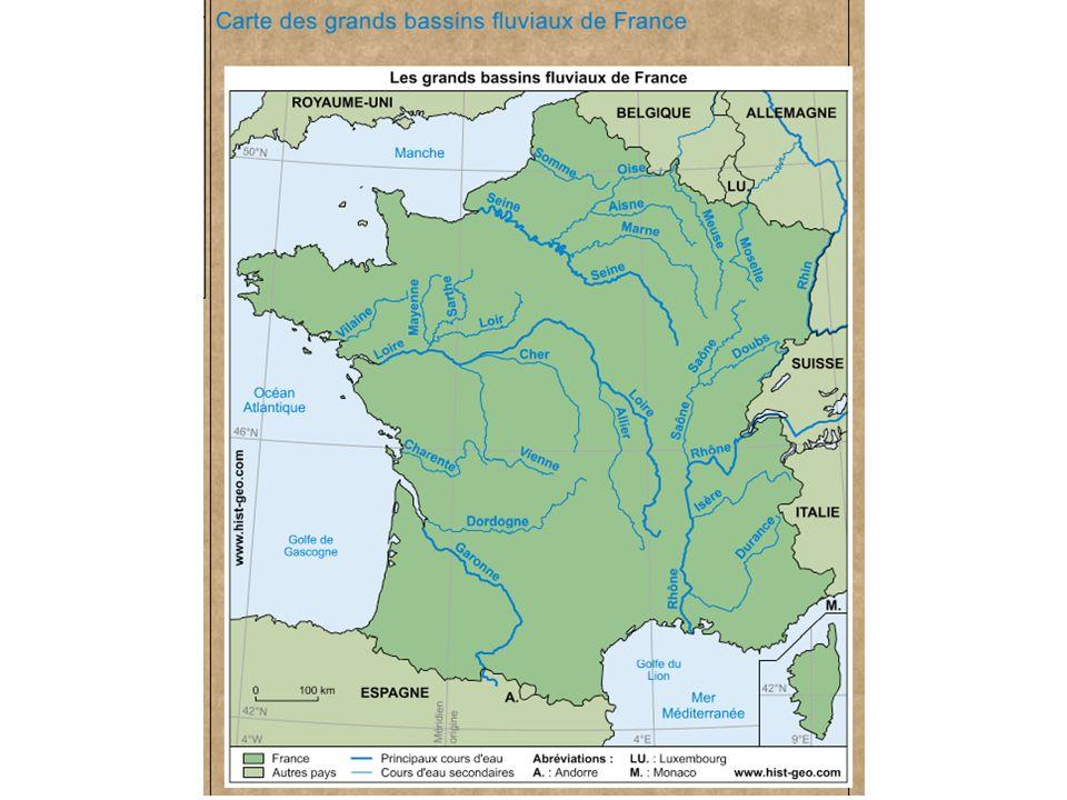 Géographie physique de la France Cette carte repr é sente les grands bassins fluviaux de France.