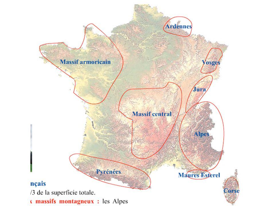 Géographie physique de la France Il y a aussi des montagnes qui constituent des frontières naturelles avec lEspagne, lItalie et la Suisse, Ce sont les Pyrénées, les Alpes et le Jura.