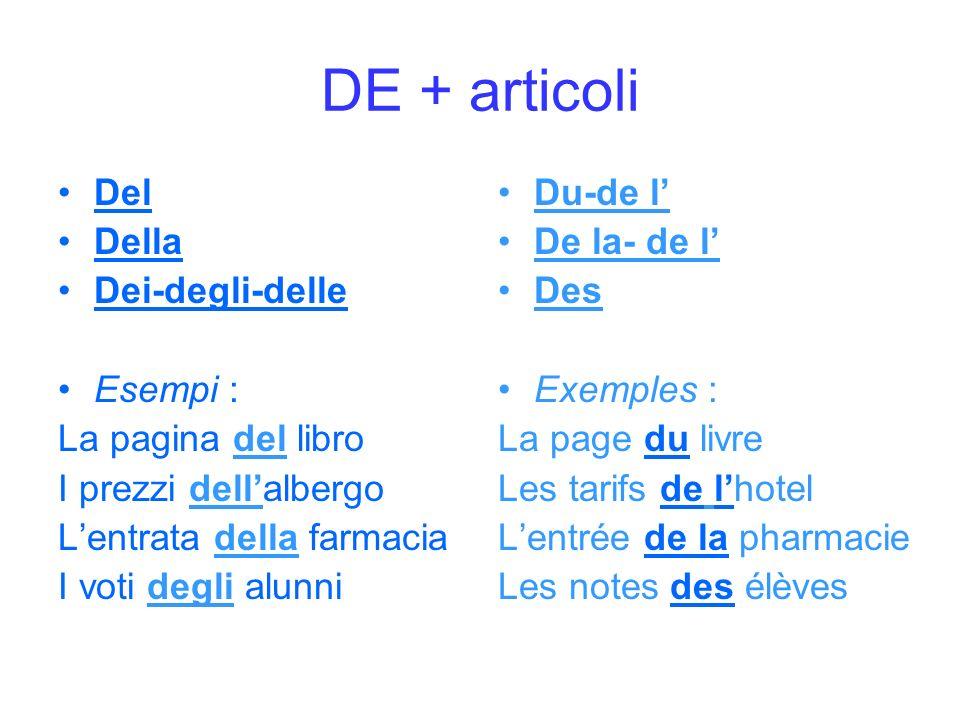 DE + articoli Del Della Dei-degli-delle Esempi : La pagina del libro I prezzi dellalbergo Lentrata della farmacia I voti degli alunni Du-de l De la- d