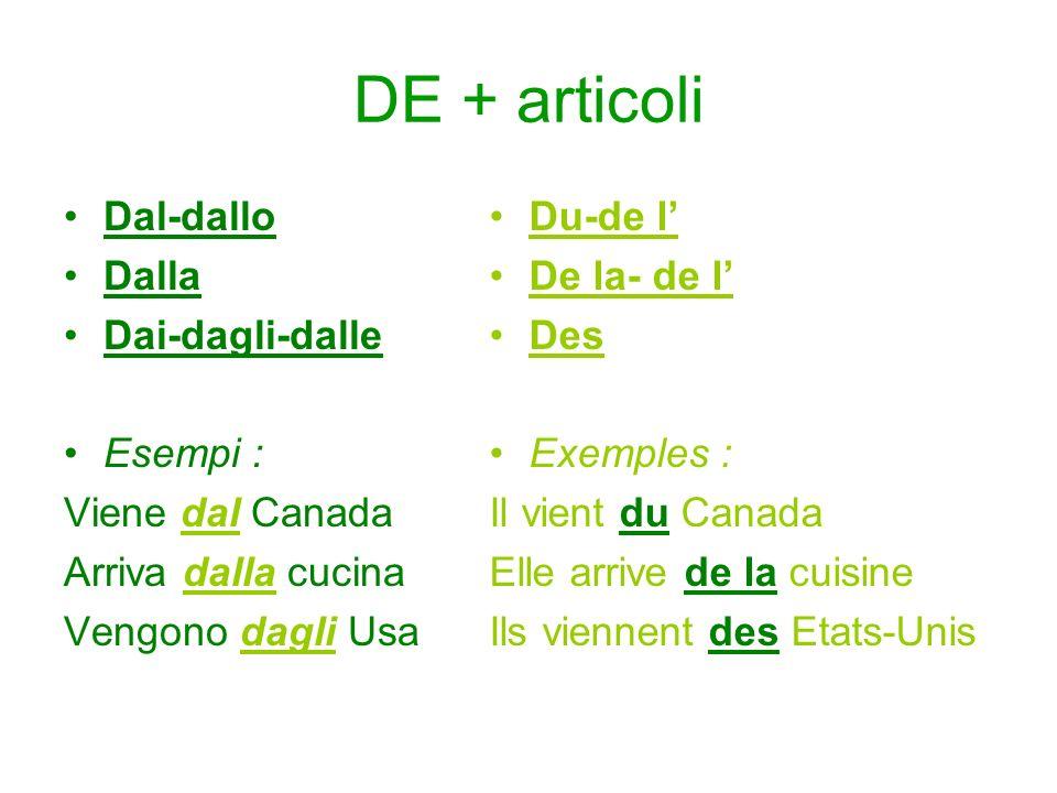 DE + articoli Dal-dallo Dalla Dai-dagli-dalle Esempi : Viene dal Canada Arriva dalla cucina Vengono dagli Usa Du-de l De la- de l Des Exemples : Il vi