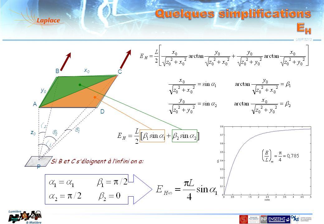 UMR 5213 z0z0 y0y0 P x0x0 A B C D On pose: Si B et C s'éloignent à linfini on a: