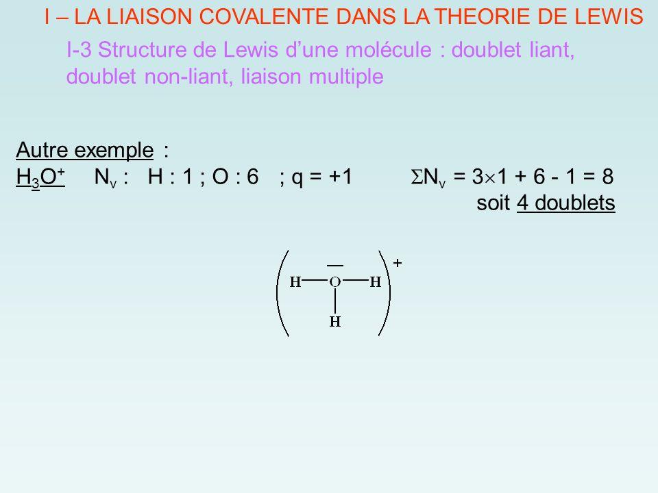 I – LA LIAISON COVALENTE DANS LA THEORIE DE LEWIS I-3 Structure de Lewis d'une molécule : doublet liant, doublet non-liant, liaison multiple Autre exemple : H 3 O + N v : H : 1 ; O : 6 ; q = +1  N v = 3  1 + 6 - 1 = 8 soit 4 doublets