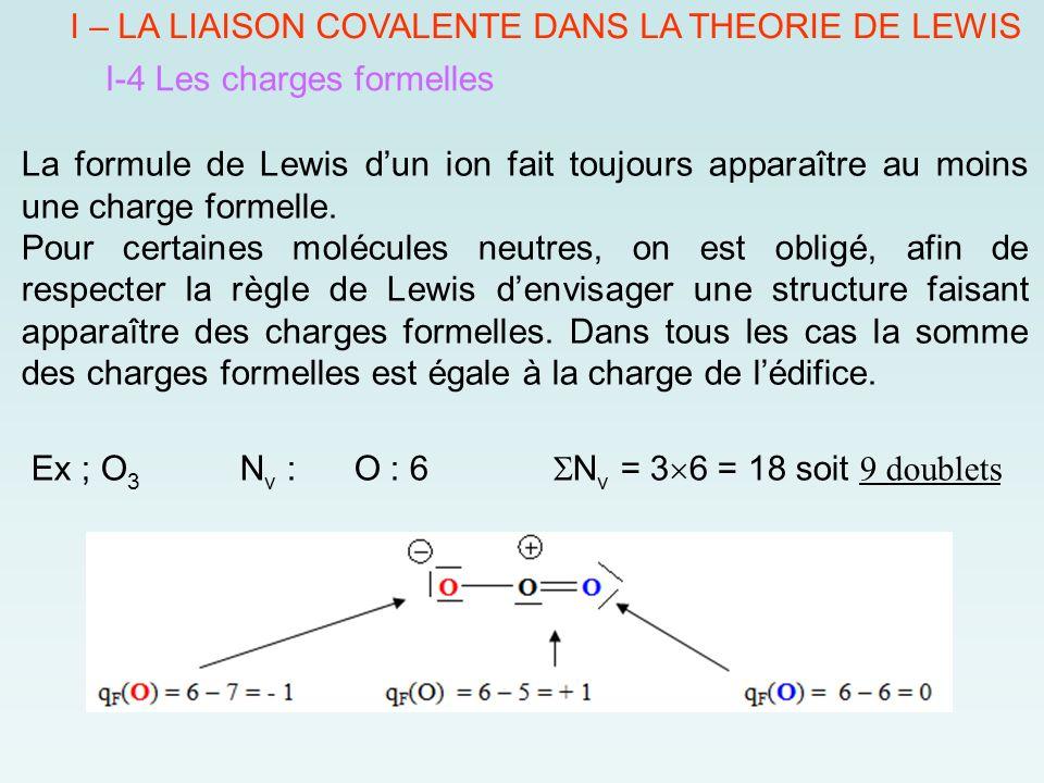 I – LA LIAISON COVALENTE DANS LA THEORIE DE LEWIS I-4 Les charges formelles La formule de Lewis d'un ion fait toujours apparaître au moins une charge formelle.