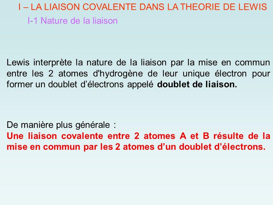 I – LA LIAISON COVALENTE DANS LA THEORIE DE LEWIS I-1 Nature de la liaison Lewis interprète la nature de la liaison par la mise en commun entre les 2 atomes d hydrogène de leur unique électron pour former un doublet d'électrons appelé doublet de liaison.