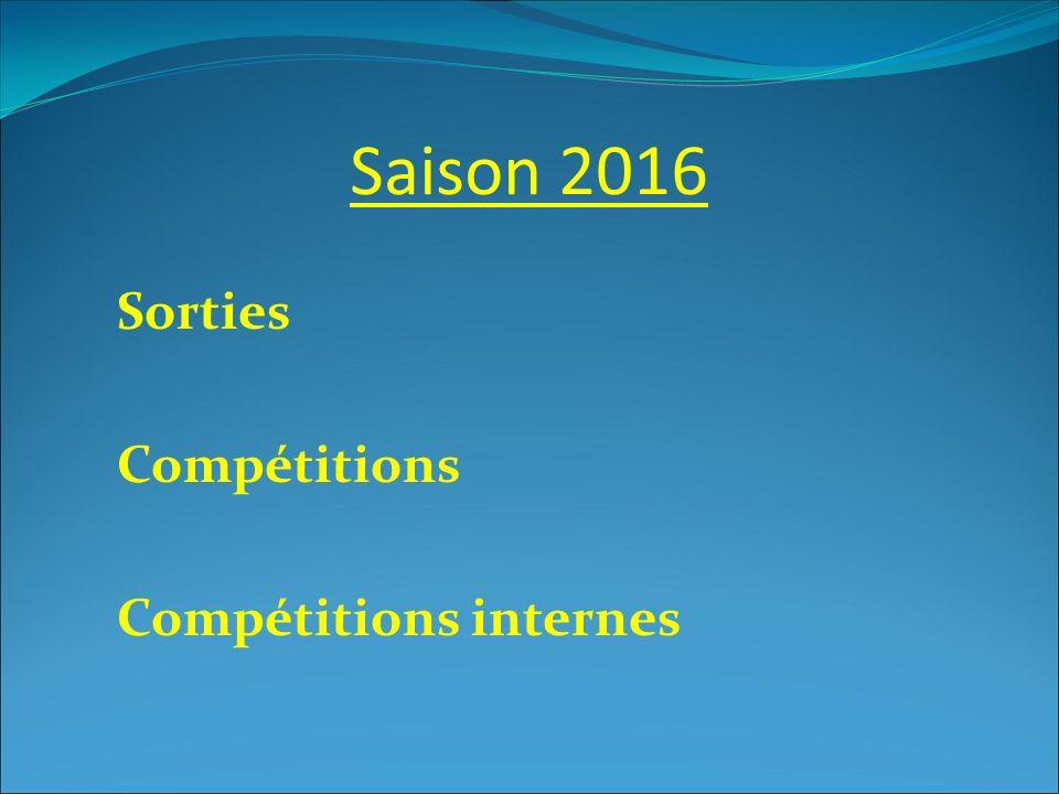 Saison 2016 Sorties Compétitions Compétitions internes