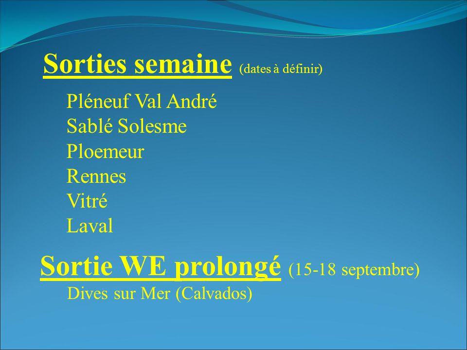 Sorties semaine (dates à définir) Sortie WE prolongé (15-18 septembre) Dives sur Mer (Calvados) Pléneuf Val André Sablé Solesme Ploemeur Rennes Vitré Laval