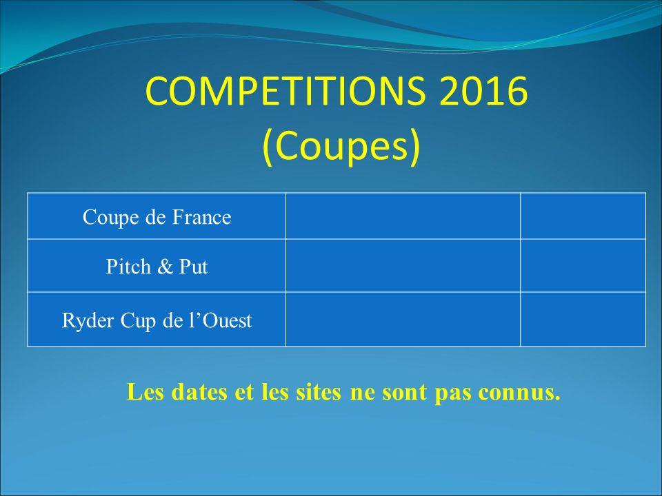 COMPETITIONS 2016 (Coupes) Coupe de France Pitch & Put Ryder Cup de l'Ouest Les dates et les sites ne sont pas connus.