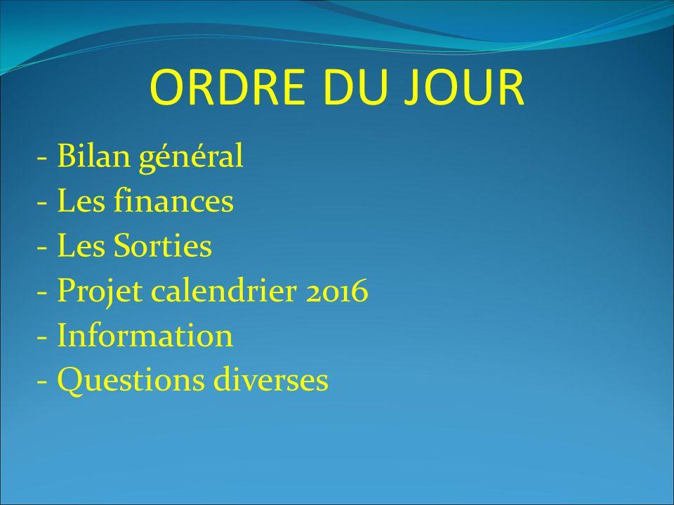 ORDRE DU JOUR - Bilan général - Les finances - Les Sorties - Projet calendrier 2016 - Information - Questions diverses