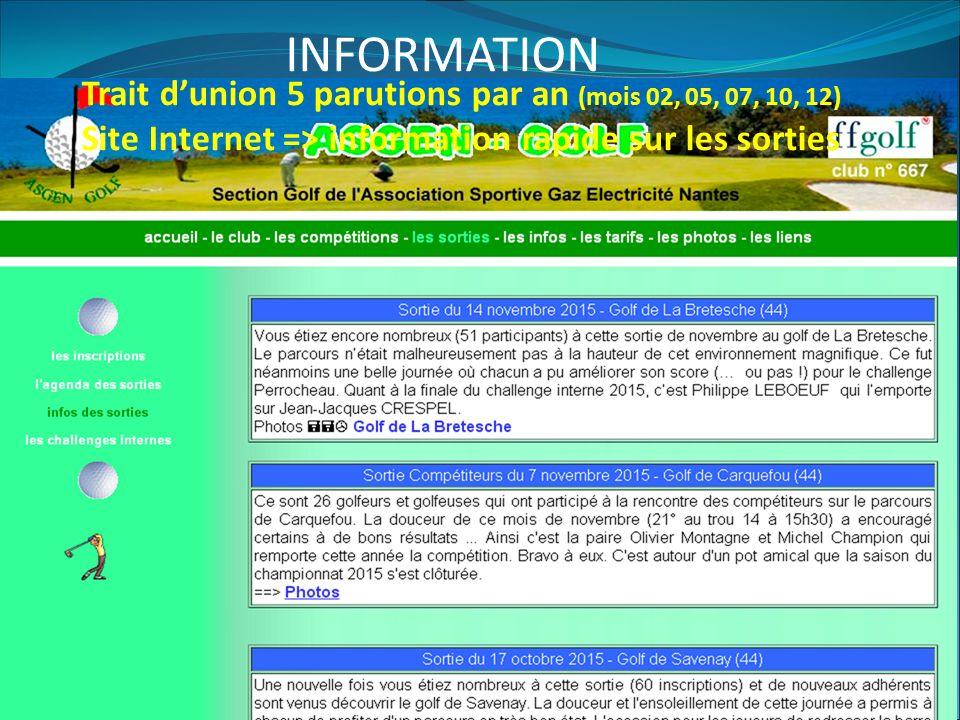 INFORMATION Trait d'union 5 parutions par an (mois 02, 05, 07, 10, 12) Site Internet => information rapide sur les sorties