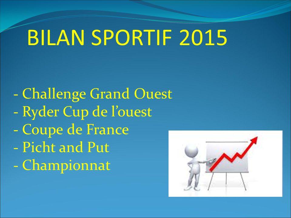 BILAN SPORTIF 2015 - Challenge Grand Ouest - Ryder Cup de l'ouest - Coupe de France - Picht and Put - Championnat