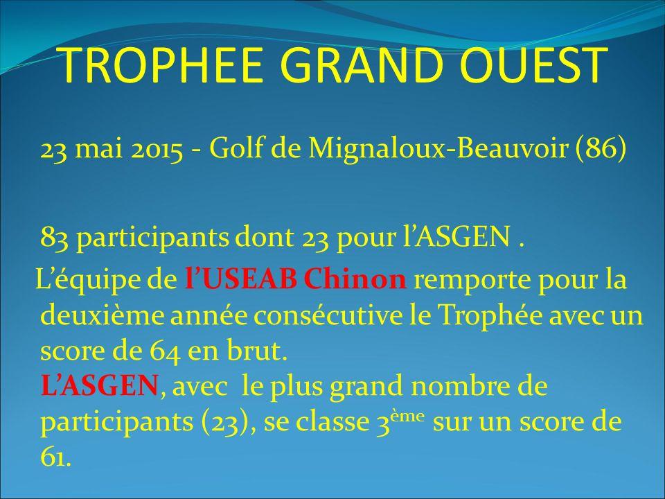 TROPHEE GRAND OUEST 23 mai 2015 - Golf de Mignaloux-Beauvoir (86) 83 participants dont 23 pour l'ASGEN.