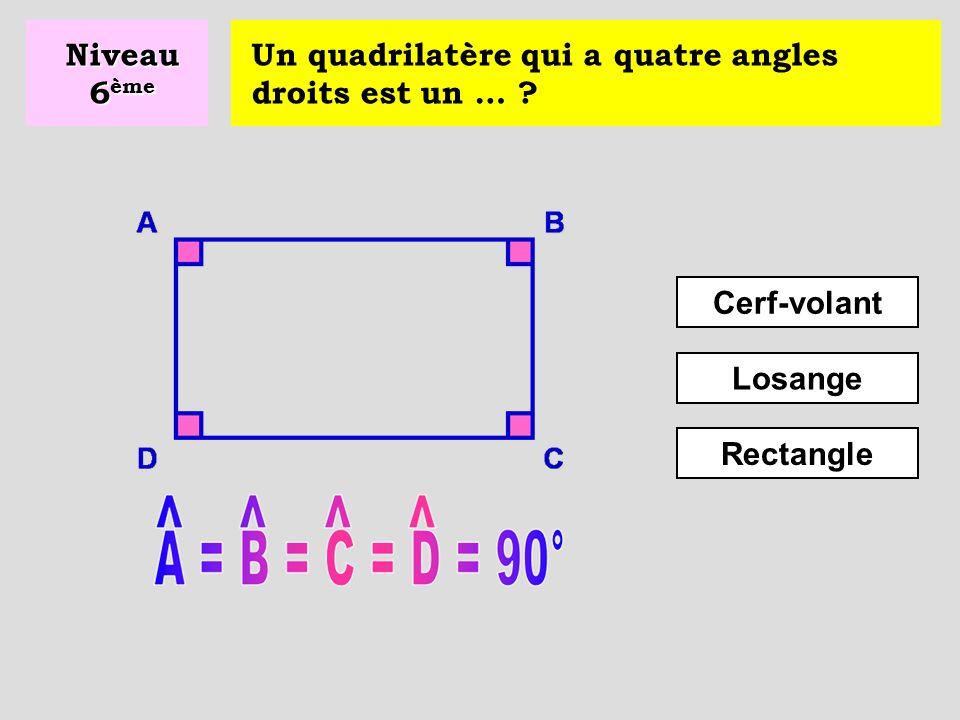 Un polygone ayant quatre côtés s'appelle un … ? Prisme Parallélépipède Quadrilatère Niveau 6 ème
