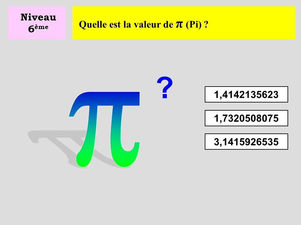 Quelle est le périmètre du cercle ? Niveau 6 ème P = 2 x π x r P = π x r 2 P = π x r