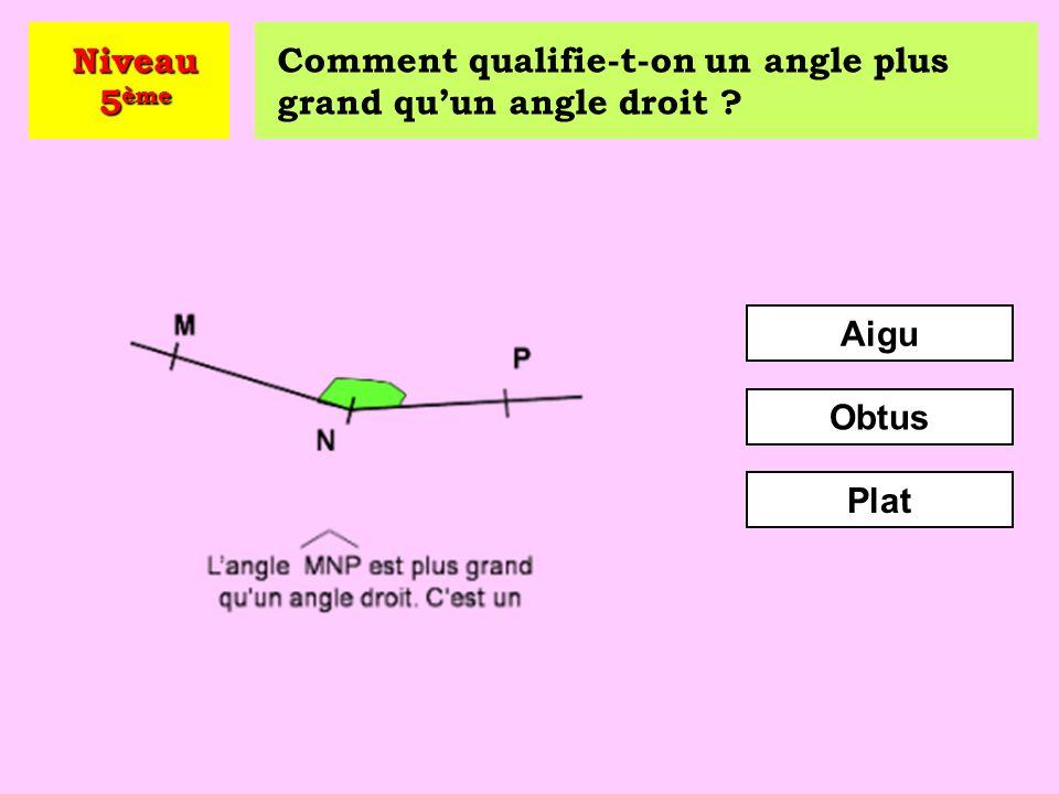 Comment qualifie-t-on un angle plus petit qu'un angle droit ? Obtus Aigu Adjacent Niveau 5 ème