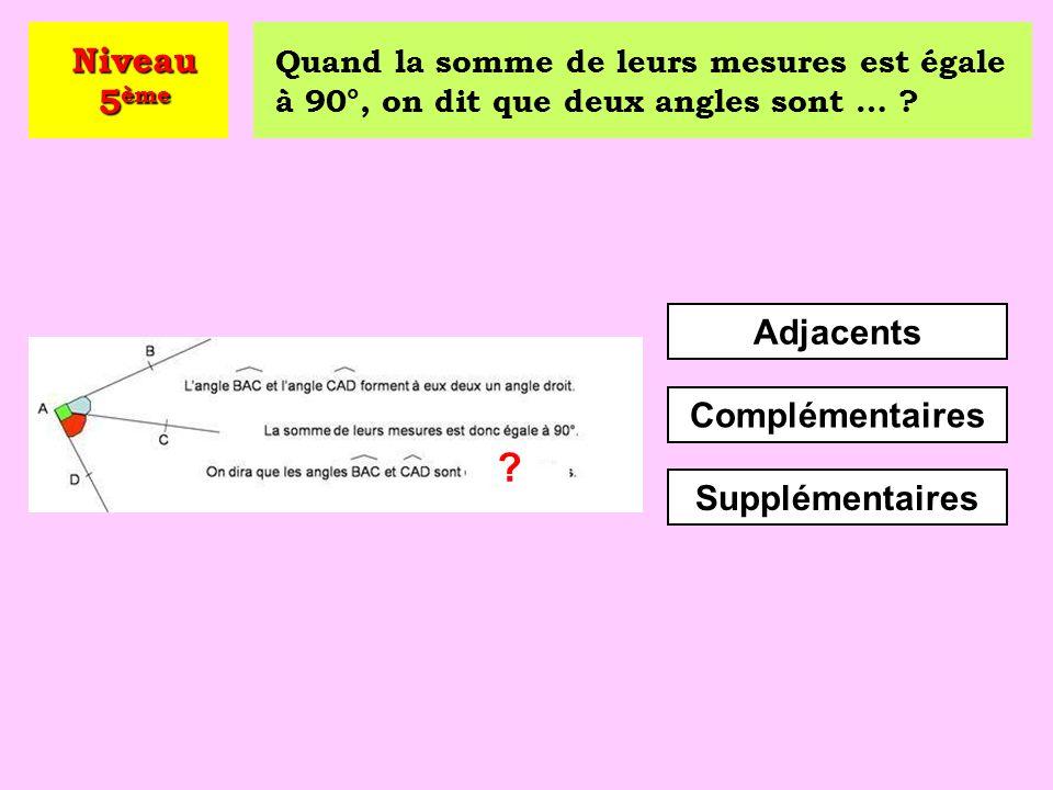 Comment qualifie-t-on un angle plus grand qu'un angle droit ? Obtus Aigu Plat Niveau 5 ème