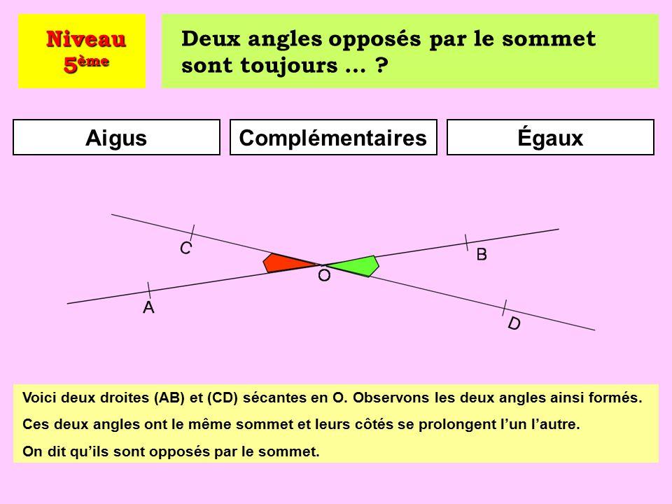 ComplémentairesAdjacentsSupplémentaires Niveau 5 ème Voici deux angles : l'un est obtus, l'autre est aigu.