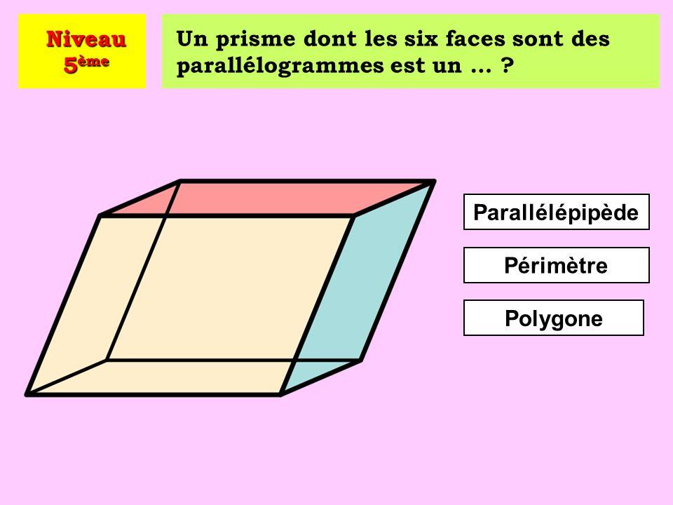 Quelle est l'aire de ce parallélogramme ? A = 21 cm 2 A = 14 cm 2 A = 24 cm 2 Niveau 5 ème