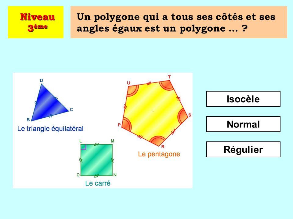 Quel est ce polygone ? Octogone Hexagone Pentagone Niveau 3 ème