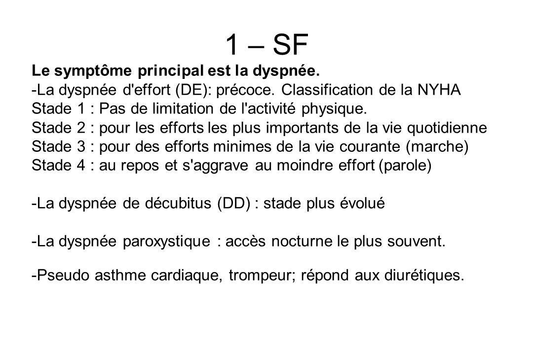 1 – SF Le symptôme principal est la dyspnée.-La dyspnée d effort (DE): précoce.