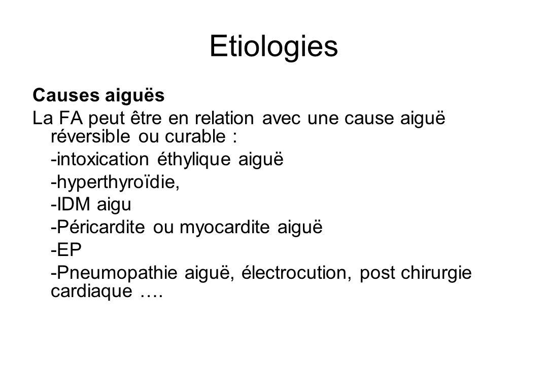 Etiologies Causes aiguës La FA peut être en relation avec une cause aiguë réversible ou curable : -intoxication éthylique aiguë -hyperthyroïdie, -IDM aigu -Péricardite ou myocardite aiguë -EP -Pneumopathie aiguë, électrocution, post chirurgie cardiaque ….