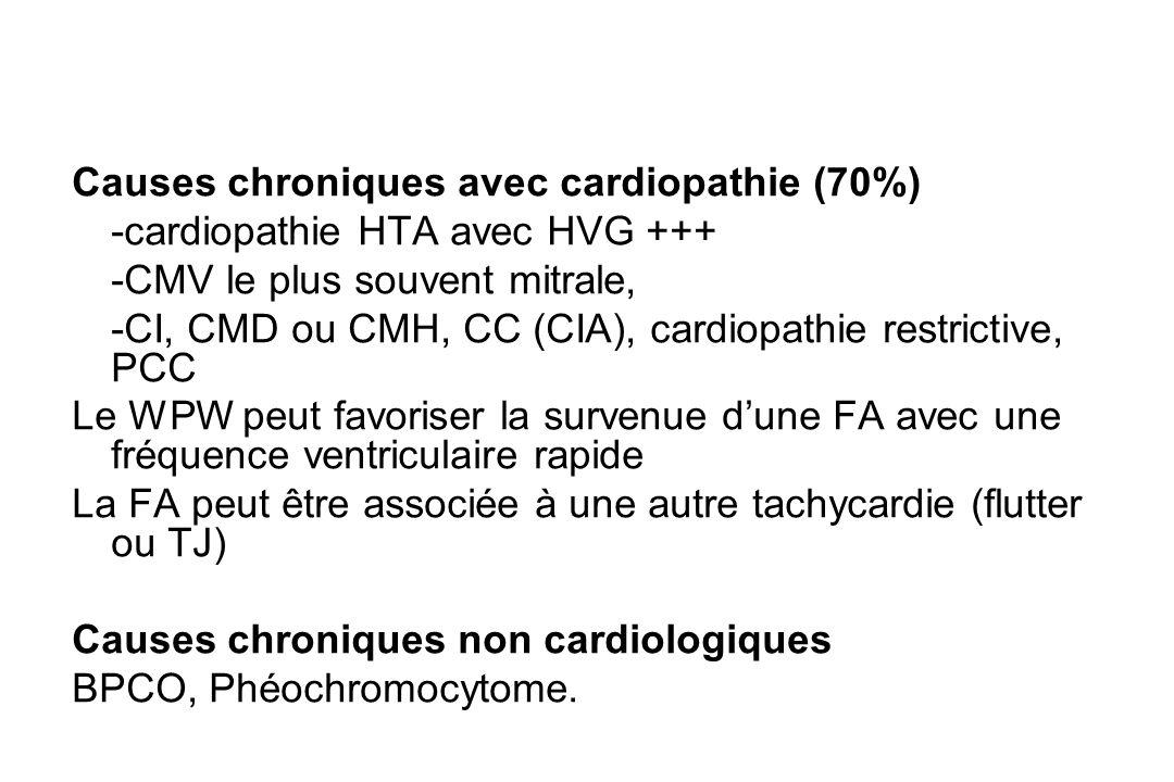 Causes chroniques avec cardiopathie (70%) -cardiopathie HTA avec HVG +++ -CMV le plus souvent mitrale, -CI, CMD ou CMH, CC (CIA), cardiopathie restrictive, PCC Le WPW peut favoriser la survenue d'une FA avec une fréquence ventriculaire rapide La FA peut être associée à une autre tachycardie (flutter ou TJ) Causes chroniques non cardiologiques BPCO, Phéochromocytome.