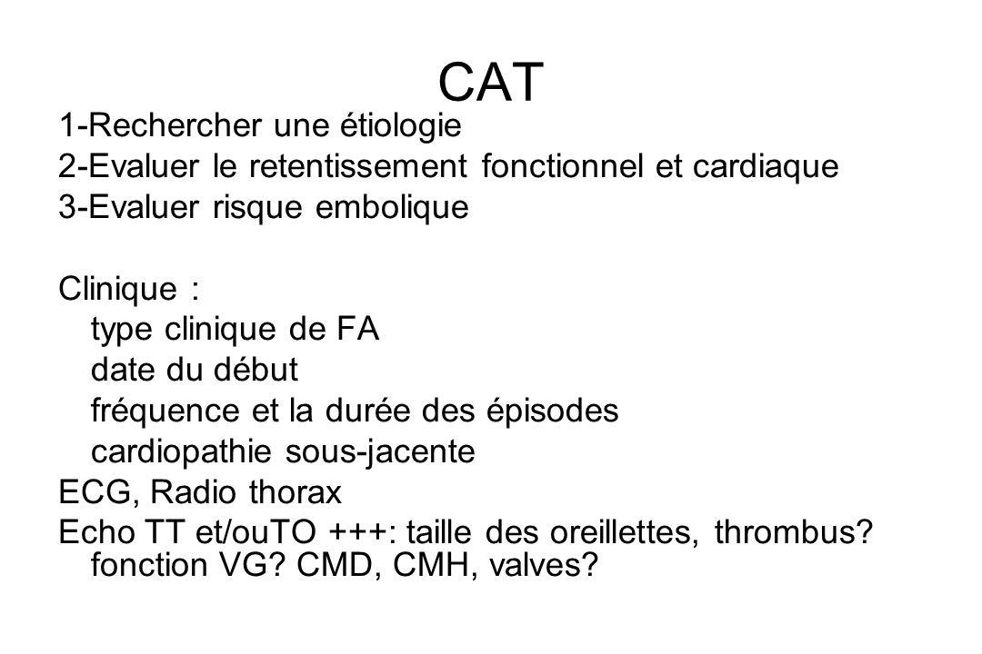 CAT 1-Rechercher une étiologie 2-Evaluer le retentissement fonctionnel et cardiaque 3-Evaluer risque embolique Clinique : type clinique de FA date du début fréquence et la durée des épisodes cardiopathie sous-jacente ECG, Radio thorax Echo TT et/ouTO +++: taille des oreillettes, thrombus.