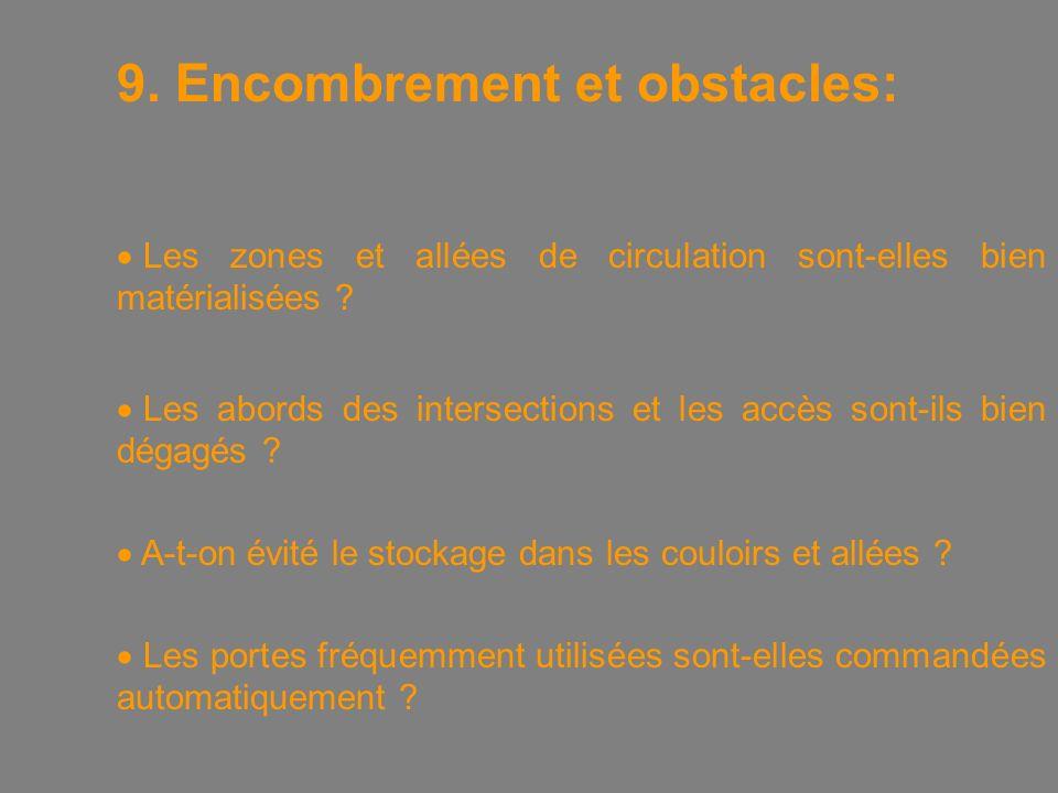 9. Encombrement et obstacles:  Les zones et allées de circulation sont-elles bien matérialisées .