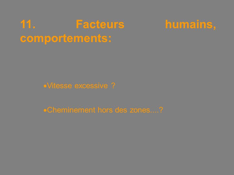11. Facteurs humains, comportements:  Vitesse excessive  Cheminement hors des zones....