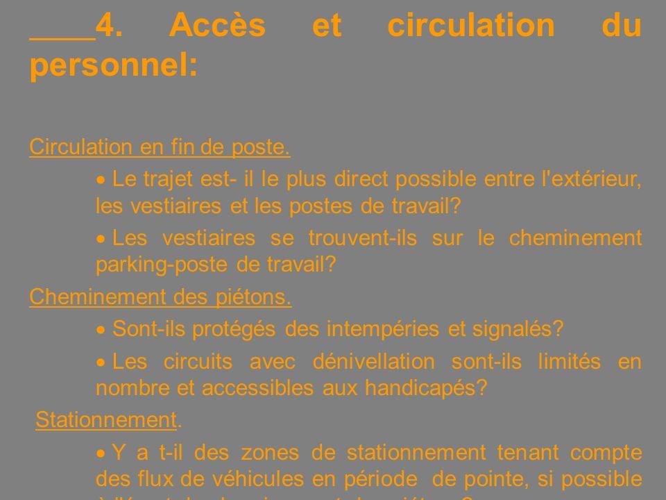 4. Accès et circulation du personnel: Circulation en fin de poste.