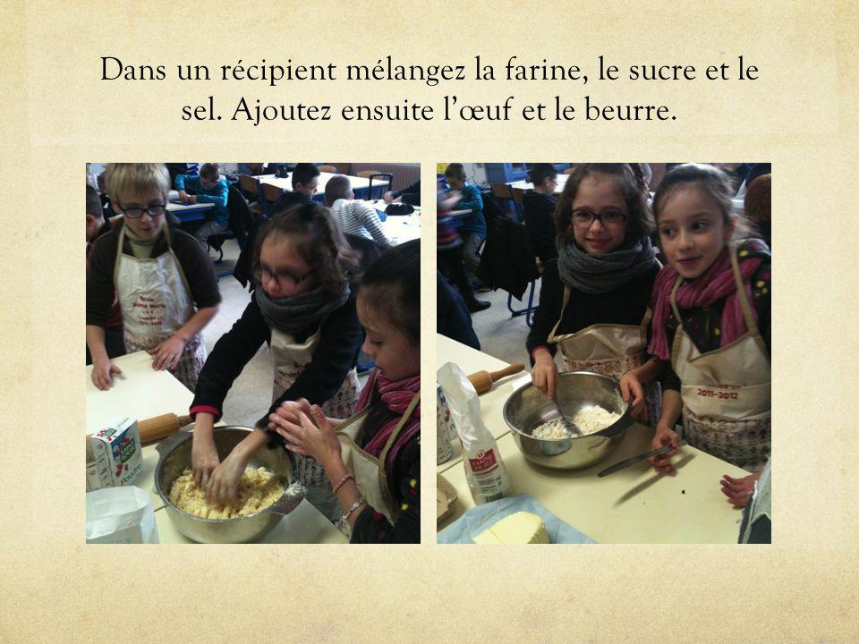 Dans un récipient mélangez la farine, le sucre et le sel. Ajoutez ensuite l'œuf et le beurre.