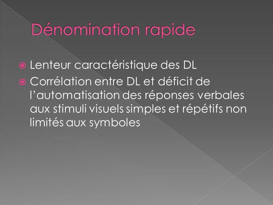  Lenteur caractéristique des DL  Corrélation entre DL et déficit de l'automatisation des réponses verbales aux stimuli visuels simples et répétifs non limités aux symboles