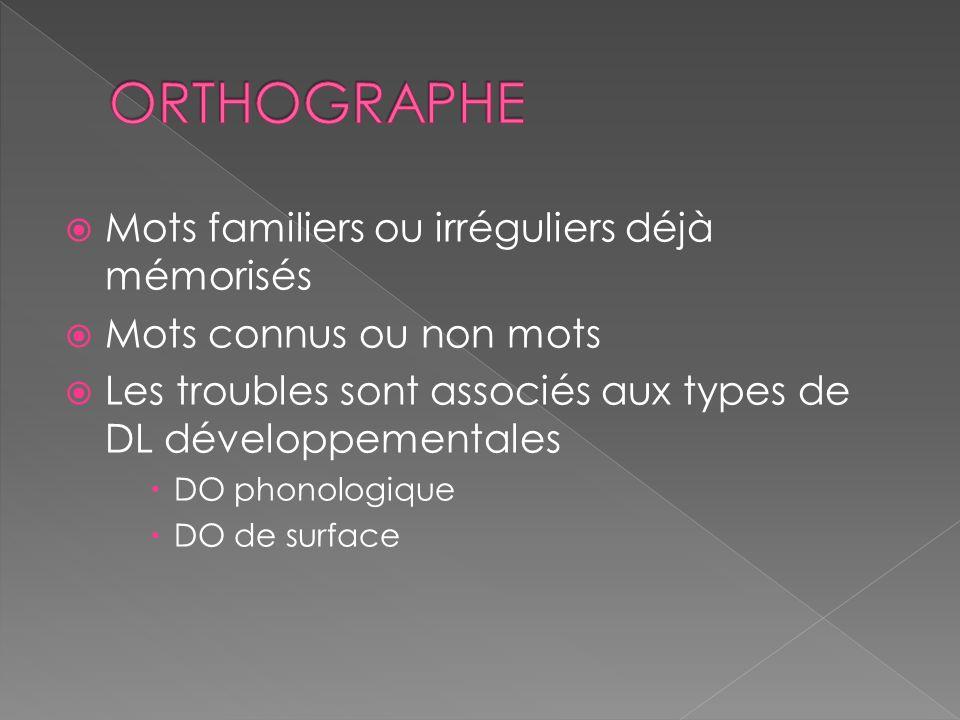  Mots familiers ou irréguliers déjà mémorisés  Mots connus ou non mots  Les troubles sont associés aux types de DL développementales  DO phonologique  DO de surface