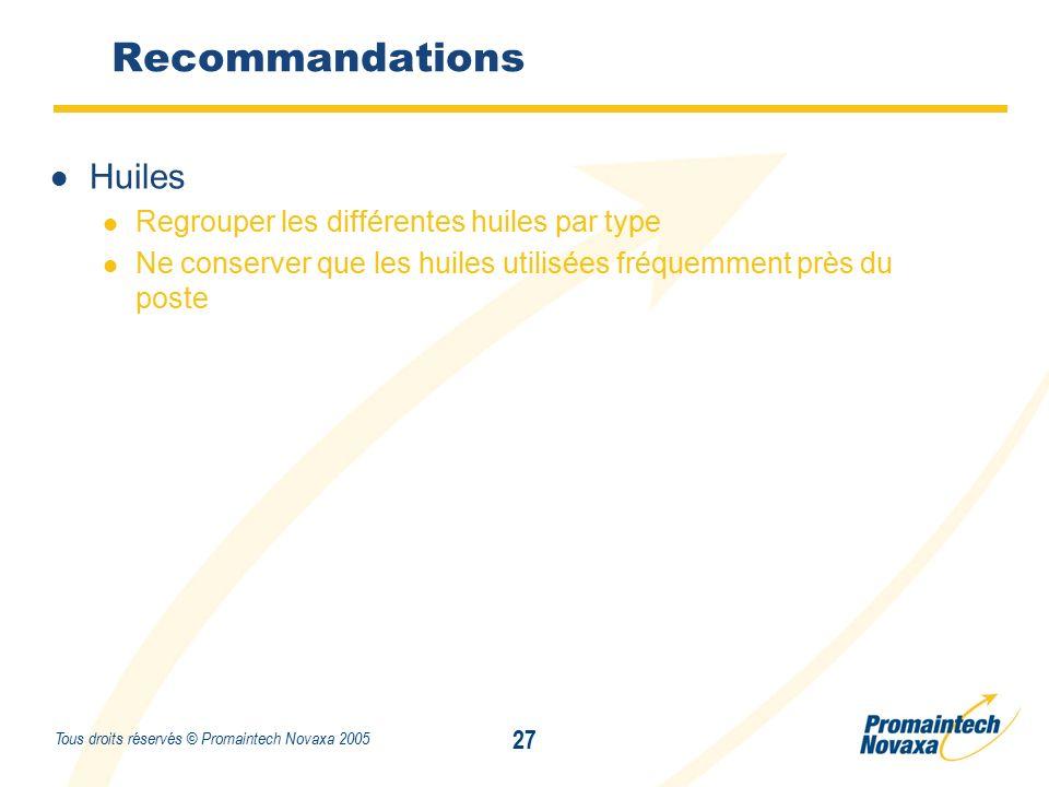 Titre 27 Tous droits réservés © Promaintech Novaxa 2005 Huiles Regrouper les différentes huiles par type Ne conserver que les huiles utilisées fréquemment près du poste Recommandations