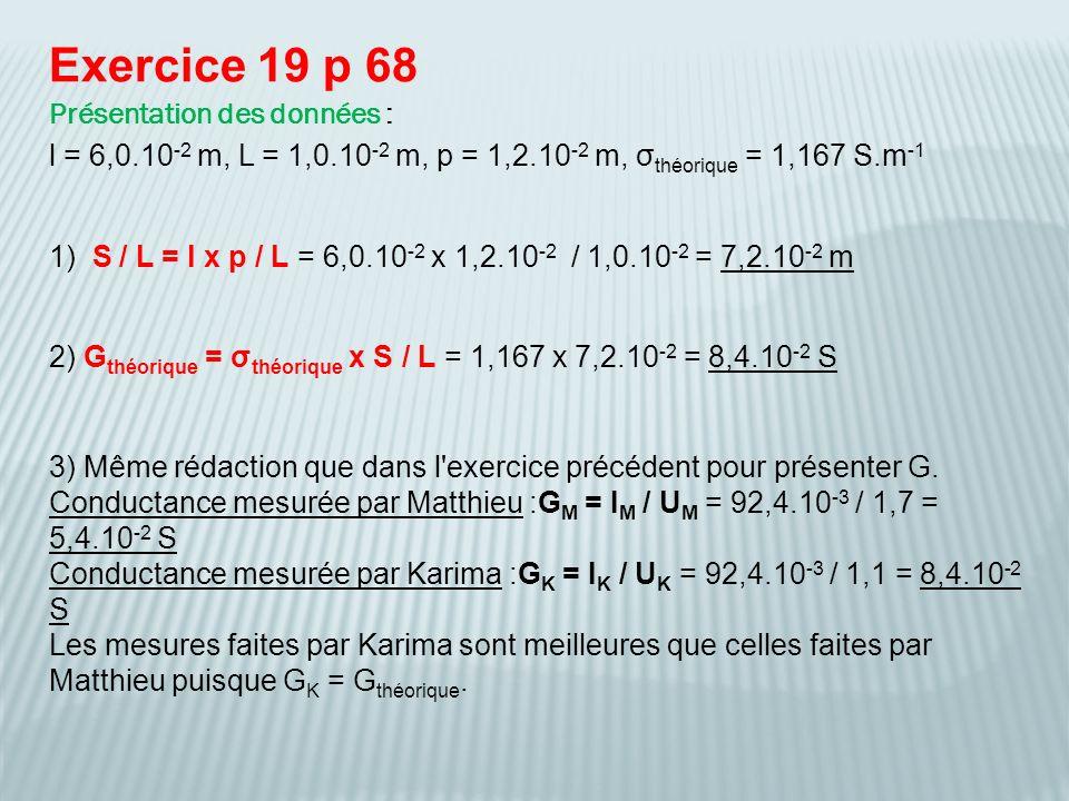 Exercice 19 p 68 Présentation des données : l = 6,0.10 -2 m, L = 1,0.10 -2 m, p = 1,2.10 -2 m, σ théorique = 1,167 S.m -1 1) S / L = l x p / L = 6,0.10 -2 x 1,2.10 -2 / 1,0.10 -2 = 7,2.10 -2 m 2) G théorique = σ théorique x S / L = 1,167 x 7,2.10 -2 = 8,4.10 -2 S 3) Même rédaction que dans l exercice précédent pour présenter G.